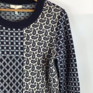 Joie Cashmere/Wool/Rayon Crew Neck Paisley Sweater